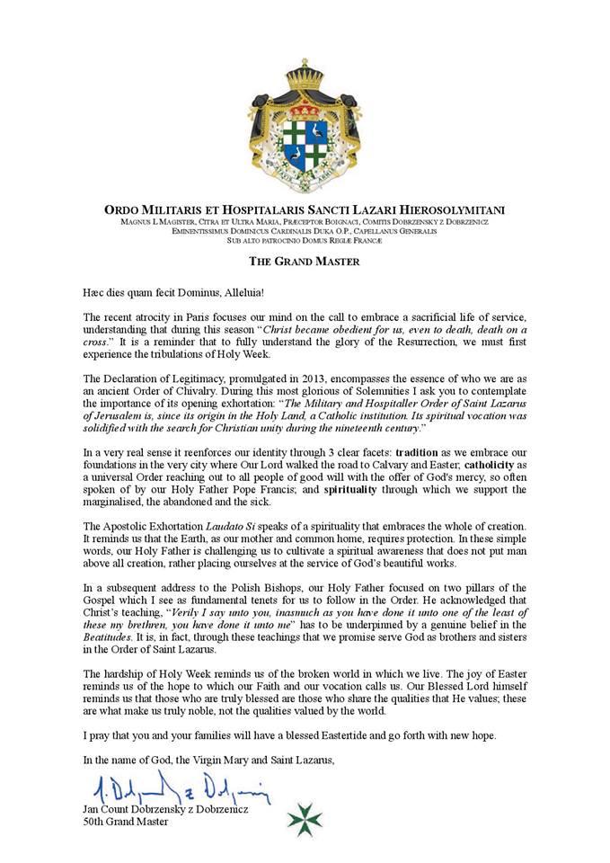 Order Of Saint Lazarus Of Jerusalem : NEWS : LIFE OF THE ORDER